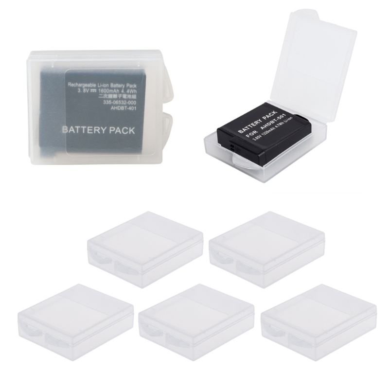 OOTDTY 5pcs <font><b>Battery</b></font> Protective Storage Box Transparent Cover Case For <font><b>GoPro</b></font> <font><b>Hero</b></font> 5 <font><b>Hero</b></font> <font><b>4</b></font> xiaomi Yi Camera accessories image