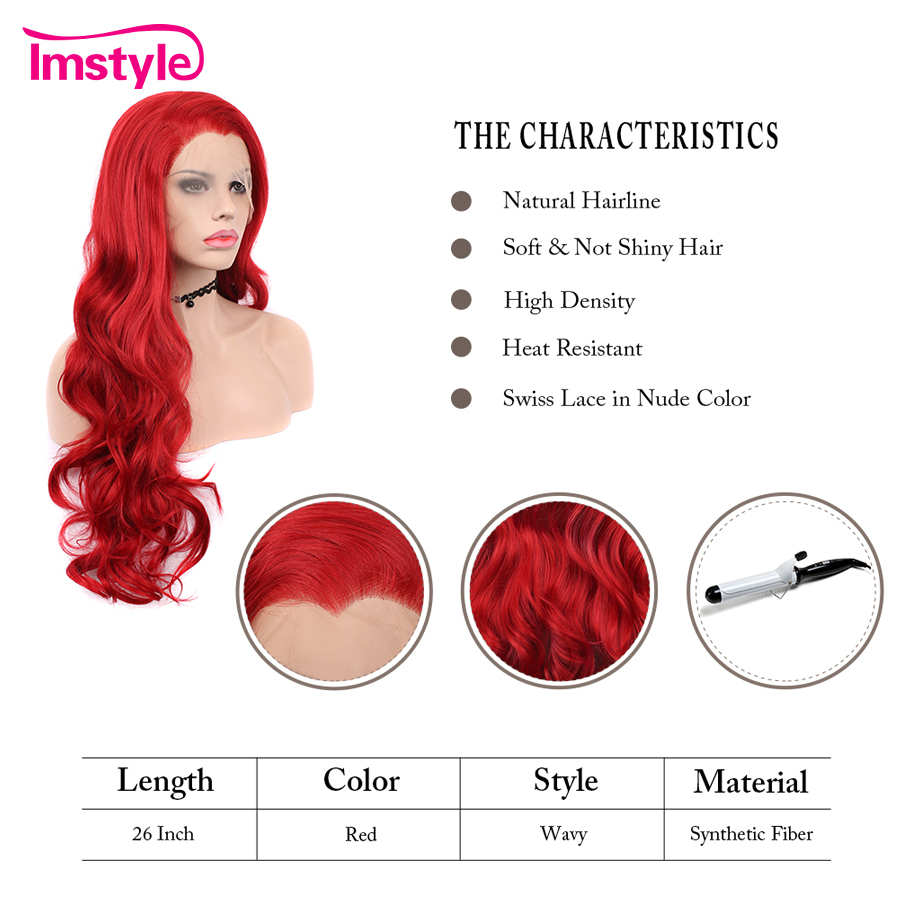 Imstyle Red Wig Lace Front Wigs For Women Long Wavy Synthetic Wig 26 quot Lace Cosplay Wig Heat Resistant Fiber Free Part Drag Queen in Synthetic None Lace Wigs from Hair Extensions amp Wigs