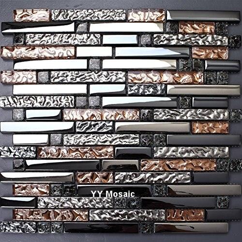 Luxus Schwarz Galvanisieren Eis Knacken Glas Silberfolie Mosaik Fliesen Für  Küche Backsplash Badezimmer Kamin Dekor