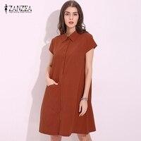 4 Colors ZANZEA 2017 Women Cotton Summer Dress Casual Loose Turn Down Collar Short Sleeve Knee