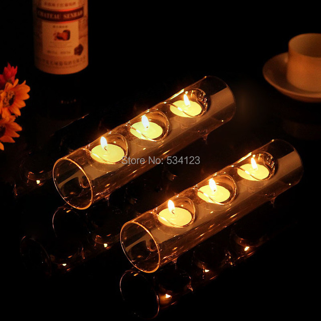Hot Sale ! 4pcs/lot  3 -tea light candle glass holder for wedding props/ candlestick as christmas decoration / tealight holders