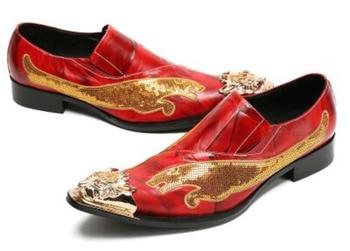 2018 Red Autumn Fashion Genuine Leather Handmade Men Dress Shoes Italian Wedding Formal Shoes Men Oxford Shoes Men Flats