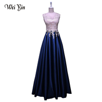 WeiYin 2018 New Arrival Luxury Long Style Dresses Bling Crystal Taffeta Formal Prom Party Dress Evening