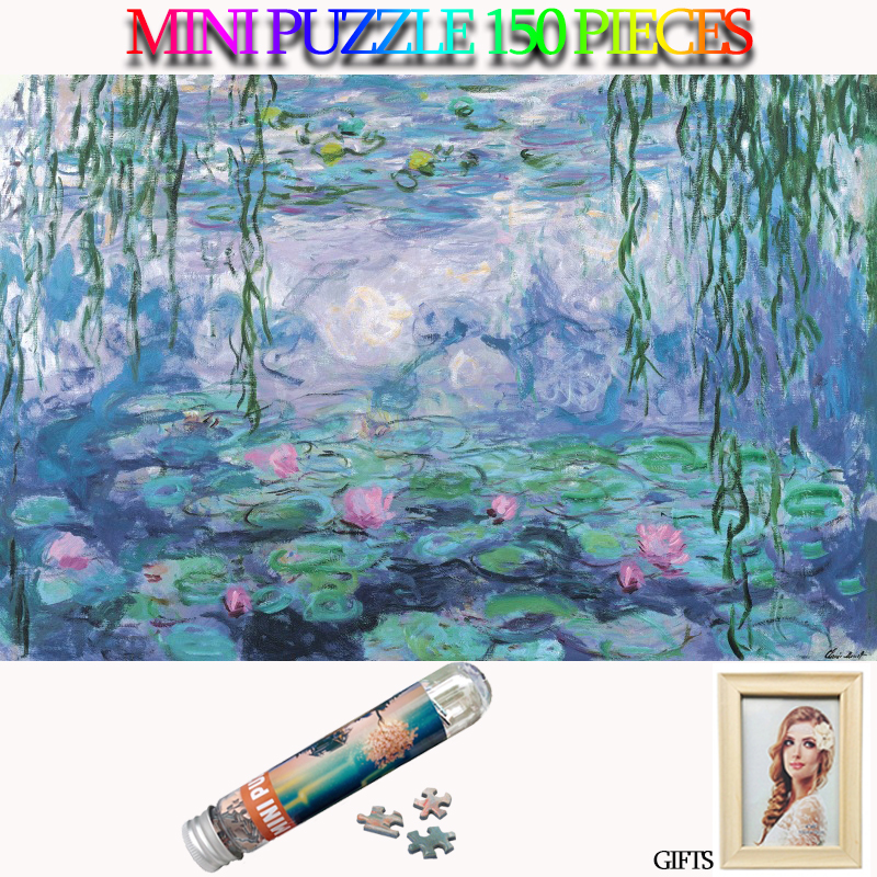 MOMEMO Water Lily 150 Pieces Paper Puzzle Famous Painter Claude Monet Oil Painting Jigsaw Puzzles Landscape for Adults