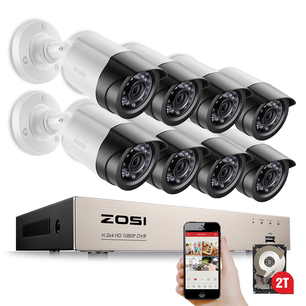 ZOSI HD-TVI 8CH 1080P 2.0MP Security Cameras System 8*1080P 2000TVL Day Night Vision CCTV Home Security 2TB HDD zosi 1080p 8ch tvi dvr with 8x 1080p hd outdoor home security video surveillance camera system 2tb hard drive white