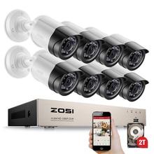 ZOSI HD-TVI System 8CH 1080 P 2.0MP Kamery Bezpieczeństwa 8*1080 P 2000TVL Day Night Vision CCTV Home Security 2 TB HDD