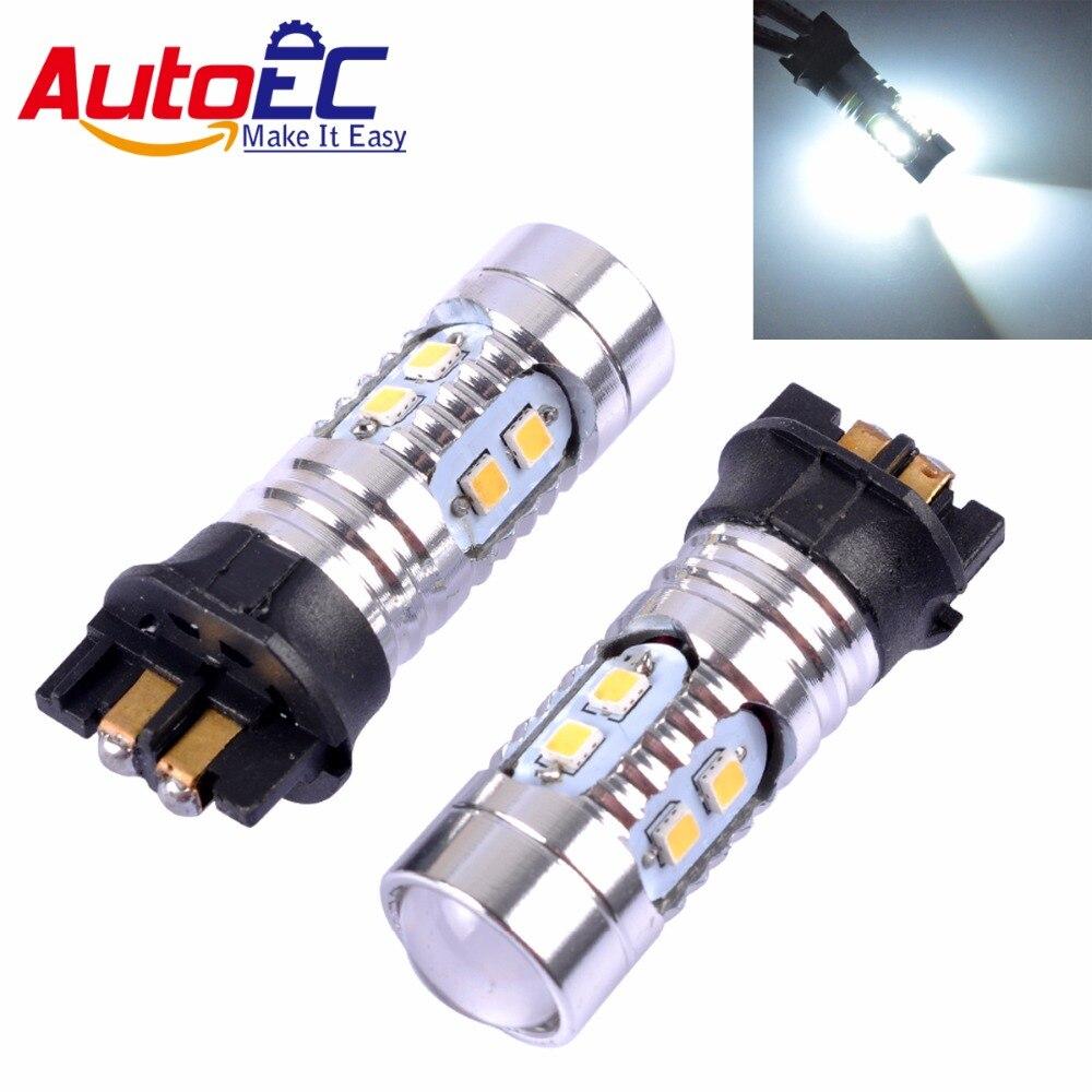 AutoEC 2 stücke PWY24W PW24W 10 SMD 2323 LED Samsung Chips mit Objektiv Für A3 A4 A5 Q3 VW MK7 Golf CC Ford Lampe DC12V # LJ44