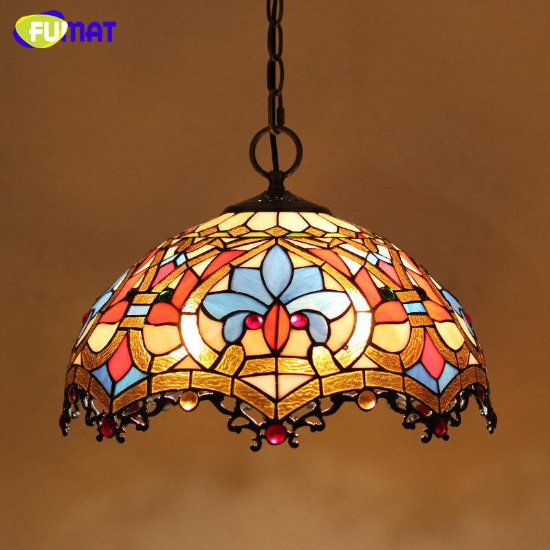 FUMAT Stained Glass Lamp European Style Art Glass Lampshade Pendant Lights Living Room Hotel Bar Kitchen Light Fixtures LED fumat stained glass pendant lamps european style glass lamp for living room dining room baroque glass art pendant lights led