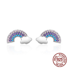 2019 New 925 Sterling Silver Cute Rainbow Simple Stud Earrings Korean for Women Fashion Jewelry