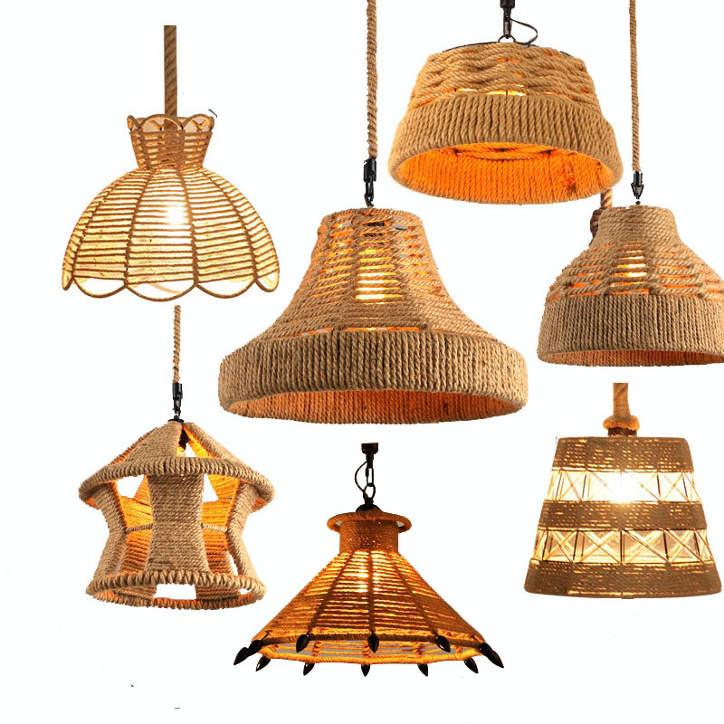 Creative Retro Countrysid hemp rope pendant lights Bar cafe dinning room Warehouse bird cage Hand Knitted Hemp rope hanging lamp эротическое белье женское avanua celia цвет черный 03574 размер s m 42 44