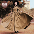 Free Shiping 2017 Boshow Fashion Women Long Maxi Long Sleeve Spring And Autumn Dresses With Big Hem Solid Color Pleated Bandage