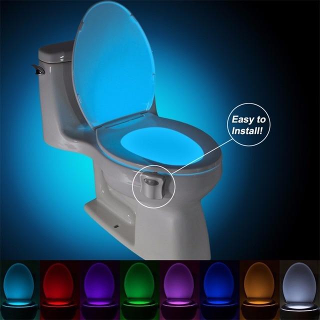 Wc sensor humano lámpara de luz led pir motion activado 8 colores rgb de iluminación nocturna automática