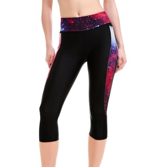 c35274e0fb New Galaxy Slim High Waist Women Mid-Calf Leggings Sexy Girls Black Fitness  Yoga Cropped