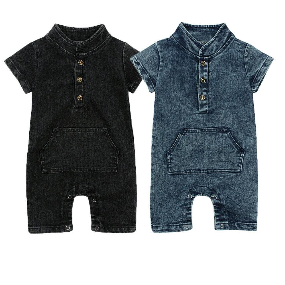 Летняя Новинка для маленьких мальчиков милые джинсовые комбинезоны с пуговицами для малышей, цельный комбинезон, одежда