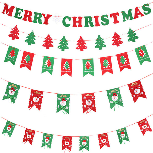 DIY Non-woven Fabric Xmas Flags Santa Clause Floral Bunting Banners Merry  Christmas Decoration Home 56586375e867