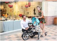 Taga nucia mẹ xe đẩy em bé đạp ghế bánh xe lớn