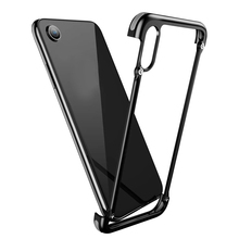 Metal Utral-Thin Corner Corver Bumpers Case For iPhone XR,Simple business style with hollow out design and silicone air bag ethnic style women s crossbody bag with hollow out and color matching design
