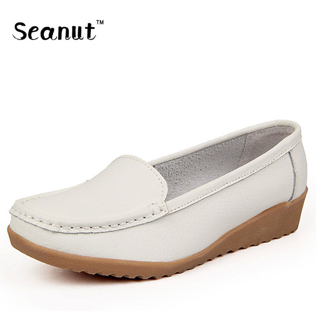 SEANUT Genuine Leather Women Flats Shoes Mother Four Seasons Soft Loafers Slip On Shoes For Women Flats Ballet Shoes Moccasins