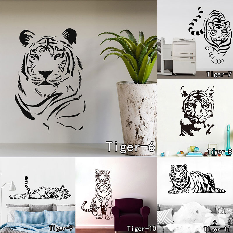 Fashion Animal Tiger Pattern Character Living Room Vinyl Carving Wall Decal Sticker Home Decor Adesivo De Parede Bedroom