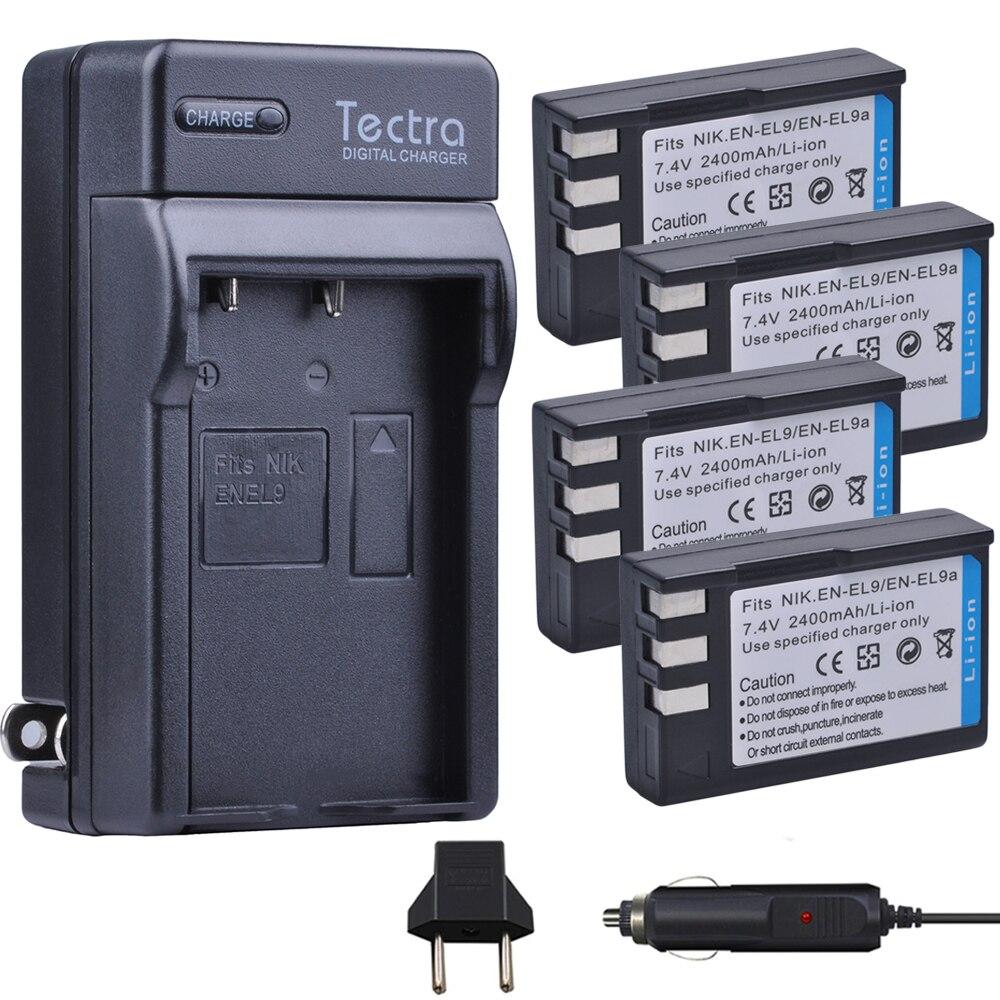 Tectra 4 pièces EN-EL9 EN-EL9A EN EL9 EN EL9A Li-ion Bateria + Chargeur Numérique pour Nikon D60 D40 D40X D5000 D3000 MH-23
