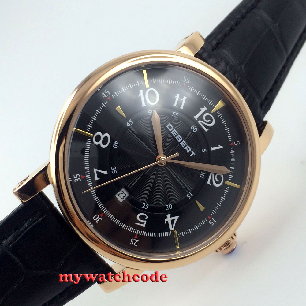 43mm debert black dial rose golden case 21 jewels miyota Automatic mens Watch D6 36mm debert golden dial 21 jewels miyota automatic diamond mens watch d11