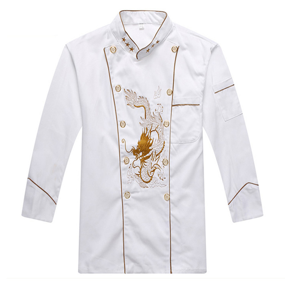 2017 White Big Dragon Long sleeved Chef Clothing Unisex Hotel Restaurant Kitchen Chef Jacket Food Service