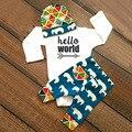 3 UNIDS Ropa de Los Bebés Hola Mundo Mameluco Elefante Imprimir Pantalones juego para Los Niños De La Ropa Infantil Otoño INS Nuevo Bebé ropa