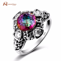 Russian 925 Sterling Silver Ring Vintage Flower Rainbow Mystical Topaz Crystal Claw Cocktail Rings Women Evening Party Jewelry