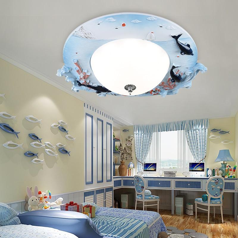 Children lamp cartoon LED ceiling lamp living kindergarten boy girl bedroom bedroom home lighting blue ocean fish lights za ET14