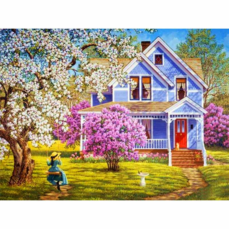 5D DIY Diamond Painting Little Girl 39 s Villa landscape Embroidery Full Square Diamond Cross Stitch Rhinestone Painting Home Decor in Diamond Painting Cross Stitch from Home amp Garden