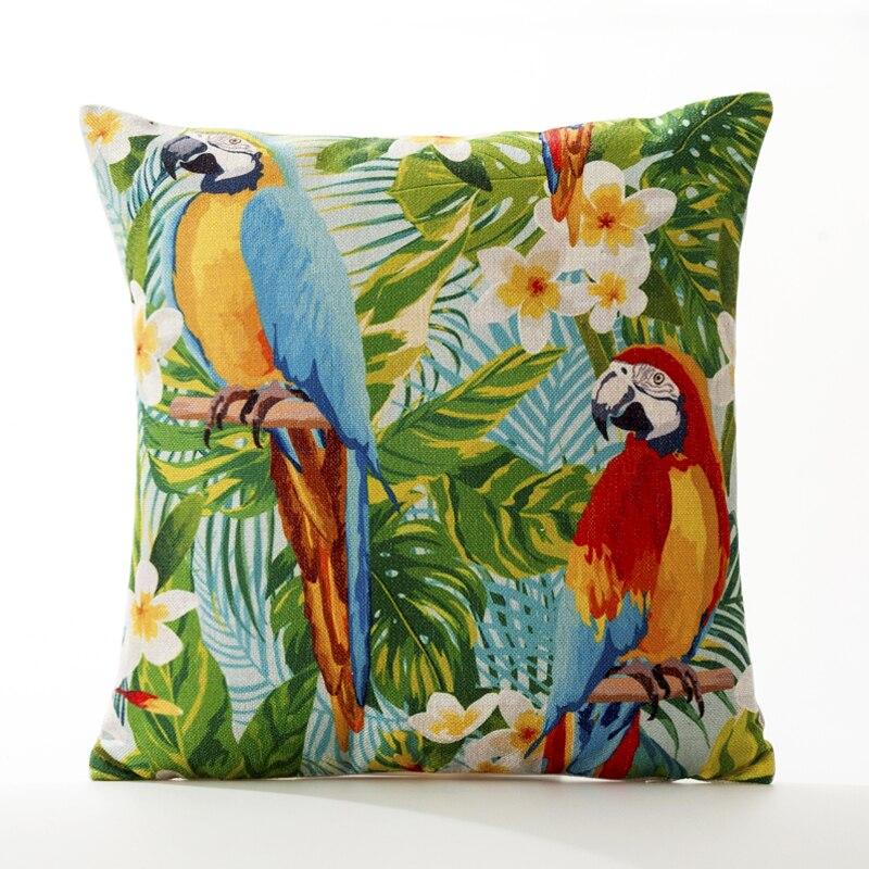 Retro Garden Bird Fruit Pineapple Home Decorative Pillow Thick Linen Pillowcase Sofa Cushion