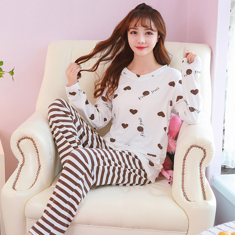 Women's Autumn Stripe Cartoon Cute Sleepwear Casual Soft Women   Pajamas     Sets   2018 Autumn Winter New Fashion Female Nightgown