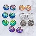 DoreenBeads Handmade Druzy /Drusy Resin Beads Round Earrings Mermaid Fish Scale Pattern Fashion Trendy Woman 15x12mm 1Pair