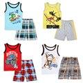 2016 Baby Boy Roupas Set Crianças Ternos Do Esporte de Verão para Crianças Roupa Dos Miúdos do Algodão Camisa Sem Mangas + Calça Fantasias Infantis