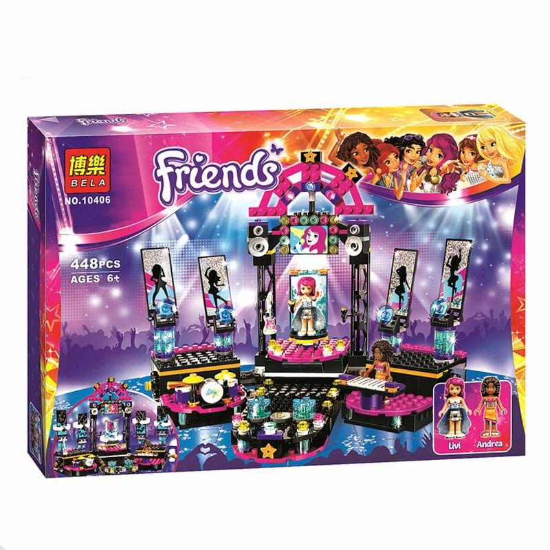 BELA Friends Pop Star Stage Building Blocks Set 44Assemble Toys Compatible Lepin Friend For Girls Gift