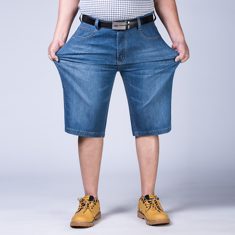 Mens Plus Size 44 46 48 50 52 Jeans Shorts Stretch Light Blue Thin Denim Short Jean Big and Tall Trousers Pants sulee 2017 summer new arrival plus size jeans shorts men blue short denim pants light and thin material size 28 to 40