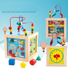 2017 New 5 in 1 Play Methods Baby Toys Children Kids Colorful Wooden Playing Funny Toy Large Around Beads Educational Toy Gifts