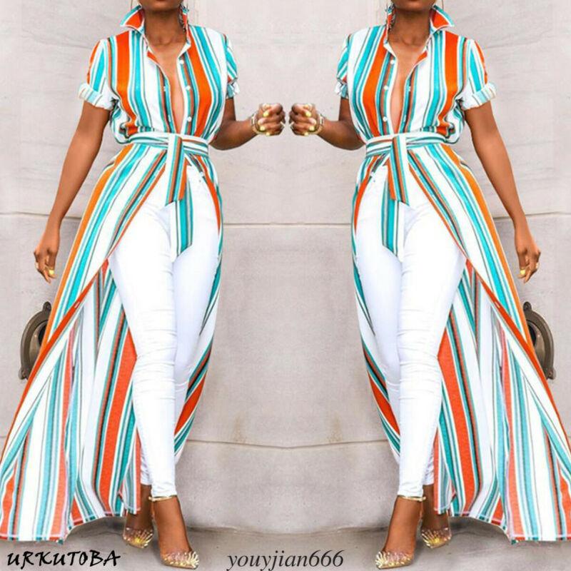 Women Short Sleeve Asymmetrical Stripes Shirt Tops High Low Long Maxi Stripe Blouse