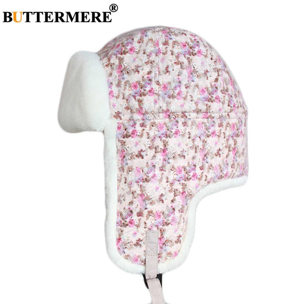 Buttermere Pink Bomber Topi Wanita Bunga Kapas Bulu Topi Wanita Musim Dingin Rusia Ushanka Outdoor Wanita Lebih Tebal Penutup Telinga Topi Pilot