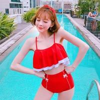 Swimsuit 2018 New Biquinis Girl Swimwear Swimming Suit Swimsuits Women Summer Womens Swim Wear Korea Ins Leaf Butterfly Japanese
