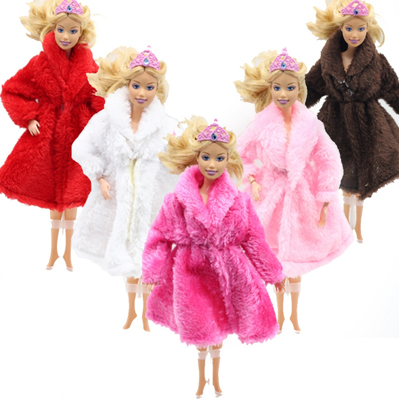Doll Accessories Winter Wear Warm Fur Coat Dress Clothes For Barbie Dolls Fur Doll Clothing For Doll Kids Toy pure manual doll accessories knitted handmade sweater tops coat dress clothes for barbie doll gifts for girls kids toy