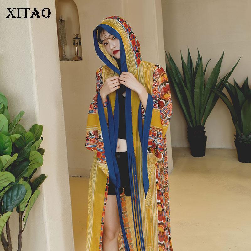 XITAO Chiffon Thin   Trench   Women Plus Size Print Pattern Bohemian Seaside Style Wild Joker Hoodies Cardigans 2019 Long ZLL4230