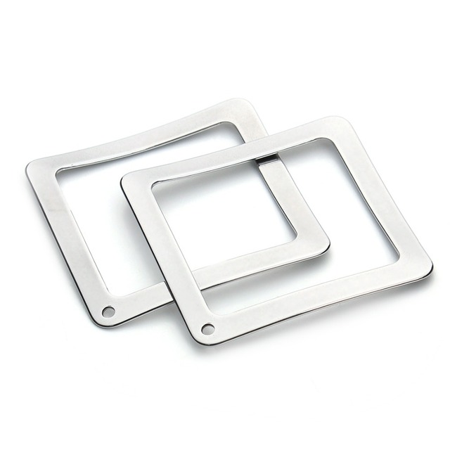 10pcs/lot 37mm Silver Tone Stainless Steel Hollow Square