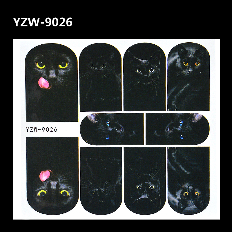 YZWLE 1 Sheet Nail Art Decals Animal Pattern 3D Mysterious Black Cat Designs Water Transfers Sticker DIY Decoration Accessories xf187194 3d cute pattern decorative diy nail art sticker white black 2 pcs