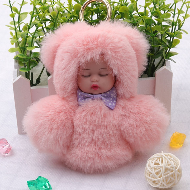 fba665dd3b Detail Feedback Questions about Fashion Faux Rex Rabbit Fur Sleeping Baby  Toy Key Chain Woman Bag Charms Gold Ring Fluffy Pom Pom Doll Keychain Party  ...