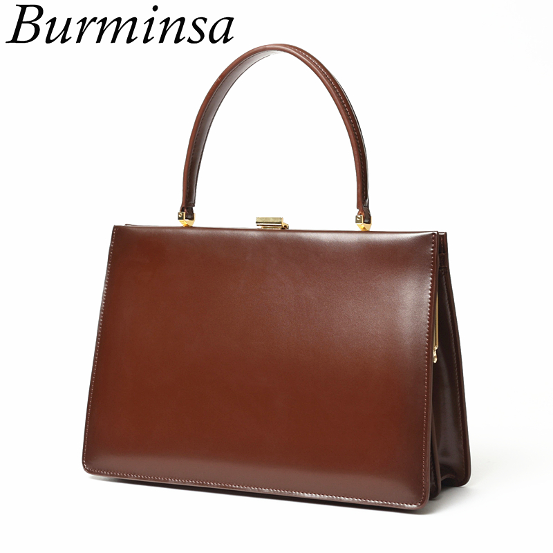 Burminsa Ladies Lock Genuine Leather Bags Women Luxury Tote Bag Designer Brand High Quality Women Chic Box Handbags Bolsos Mujer