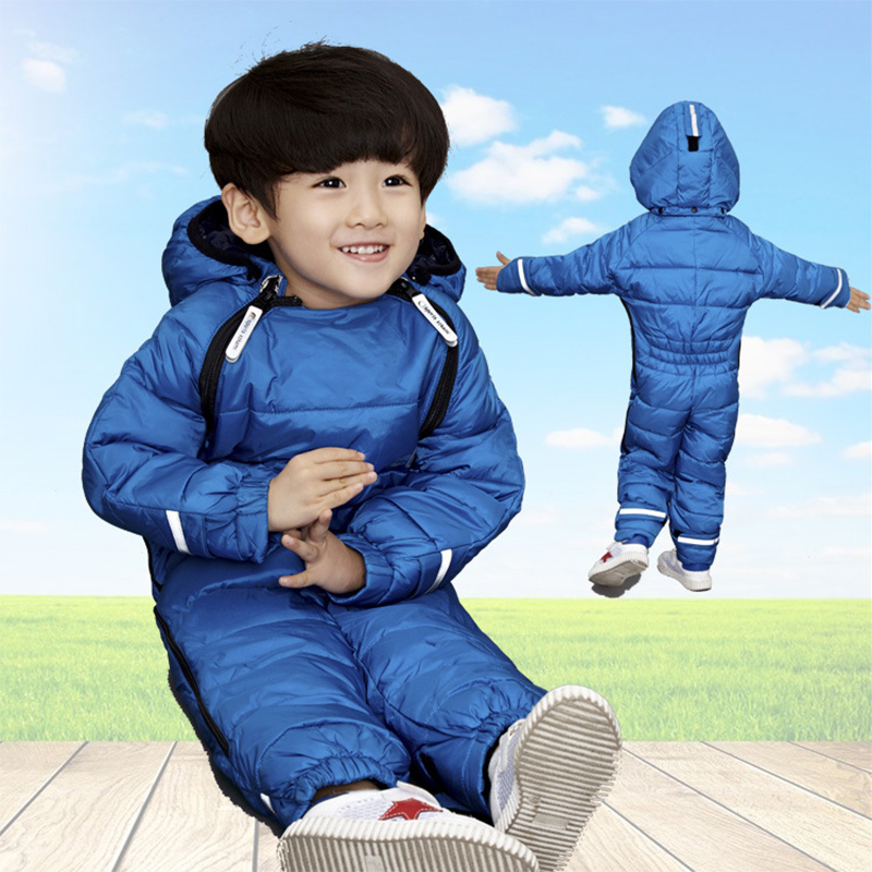 ФОТО 2017 New Fashion Baby Down Rompers Coat Top Quality Children Thick Warm Solid Jacket Clothes Winter Hooded 1-4 Years Outerwear