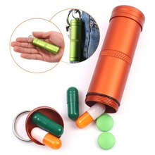 Camping Survival Waterproof Pills Box Container Aluminum Medicine Bottle Keychain Outdoor Emergency Gear EDC Travel Kits