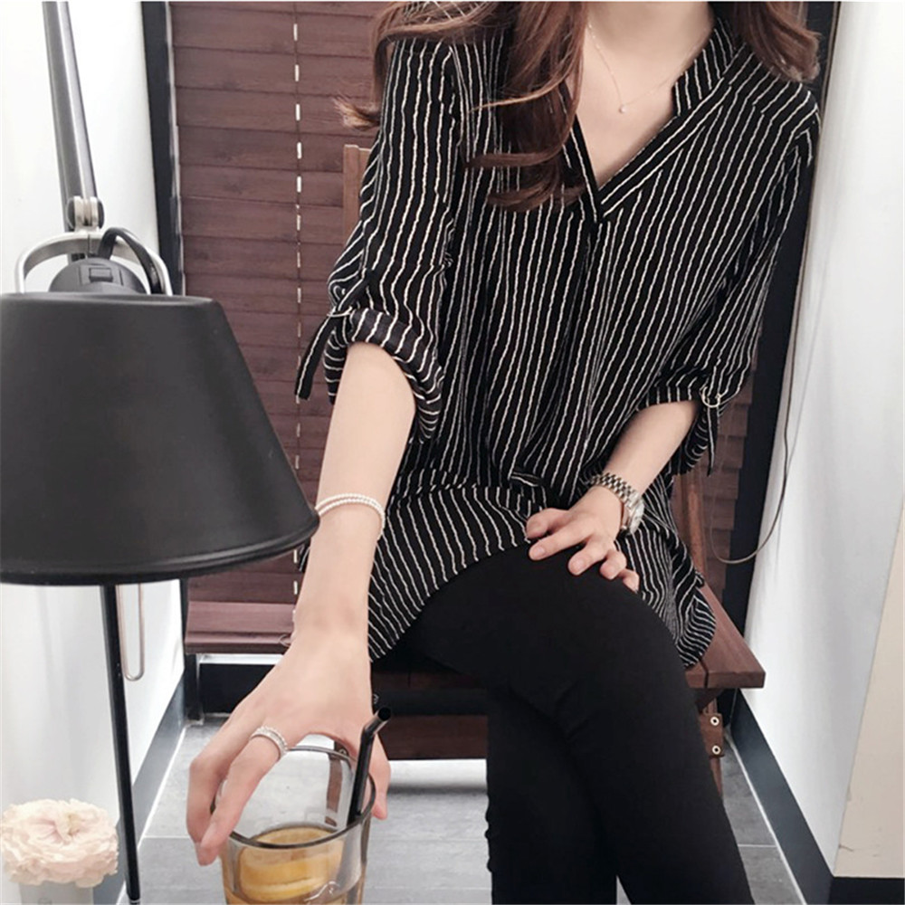 Top Fashion 2018 woman blouse shirt long Sleeve Shirt Striped Long Blouses Loose Tops elegant Blusas
