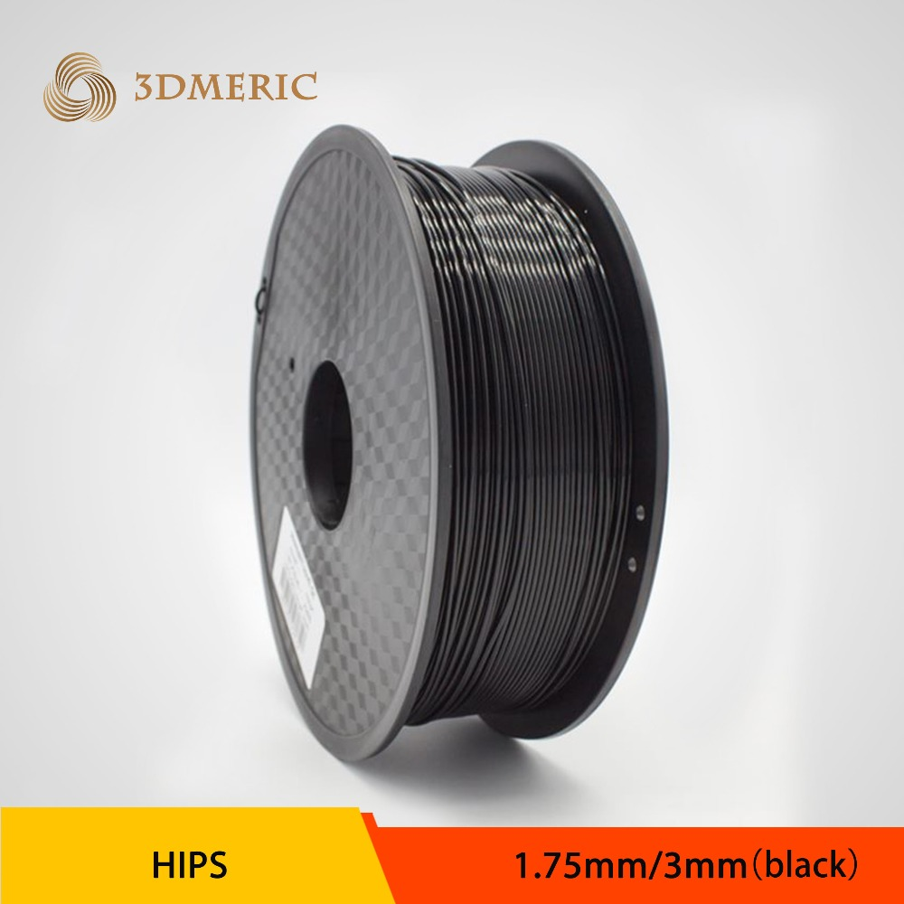 Low Smoke Odourless HIPS 3D Printer Filament Black 3mm Diameter 1KG flsun 3d printer big pulley kossel 3d printer with one roll filament sd card fast shipping